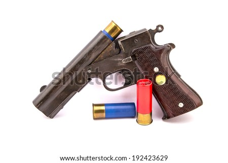 Short shotgun with shell - stock photo