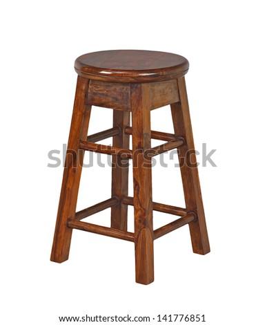 short stool isolated on white background - stock photo