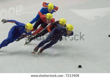 Short track ice skater during the last Olympic Games