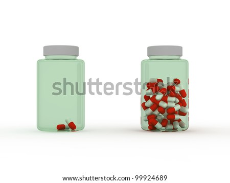 shortage of medicines, compared to the background - stock photo