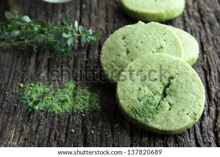 Shortbread biscuits with the tea green tea match and thyme. - stock ...