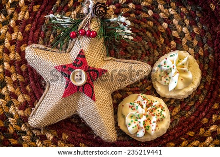 Shortbread cookies in a Christmas themed bowl. - stock photo