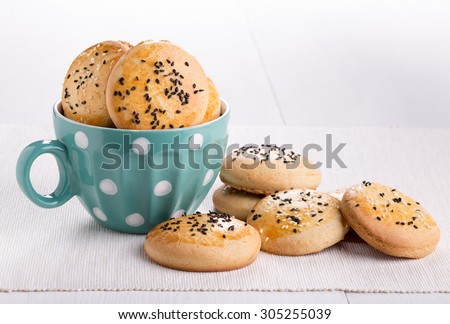 Shortbread cookies with black and white sesame seeds. Copy space. - stock photo