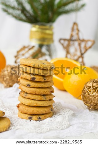 shortbread cookies with butterscotch and chocolate - stock photo