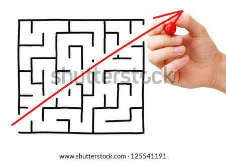 Shortcut cutted through a maze by a red arrow. Concept about finding a simple solution to a problem or completing a difficult task. - stock photo