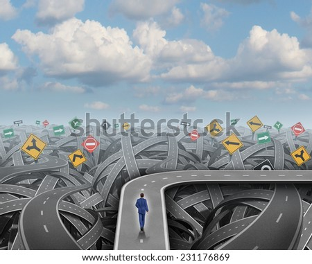 Shortcut direction concept and business detour decision symbol as a businessman walking on a road that avoids chaos confusion and a crisis as an icon for changing course and planning or strategy. - stock photo