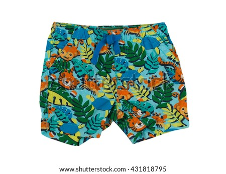 Shorts with a tropical pattern. Isolate on white. - stock photo