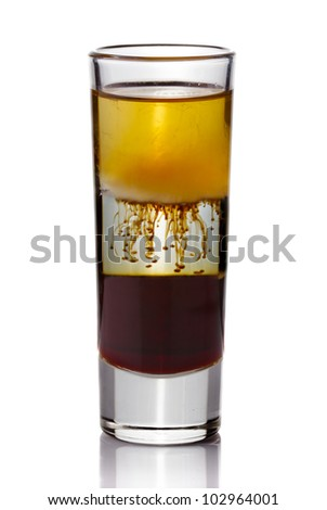 Shot drink cocktail isolated on white background - stock photo