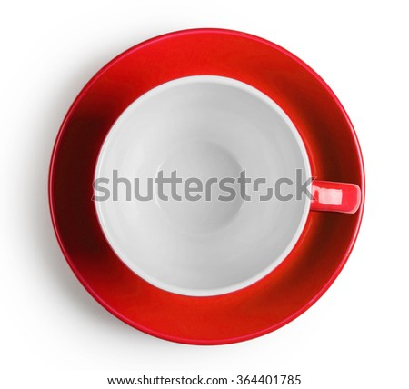 Shot from above red cup with saucer isolated on white background - stock photo