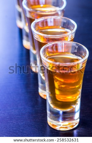 Shot glasses on the bar table