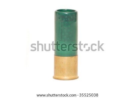 Shot gun ammunition shell isolated on white, clipping path