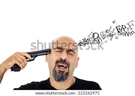 Shot head and letters - stock photo