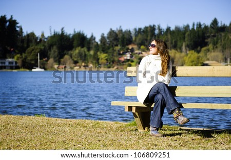 Shot in a beautiful blue lake in a cold morning with a lot of natural sunlight - stock photo