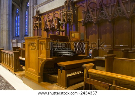 Shot inside San Francisco's Grace Cathedral on Nob Hill. - stock photo
