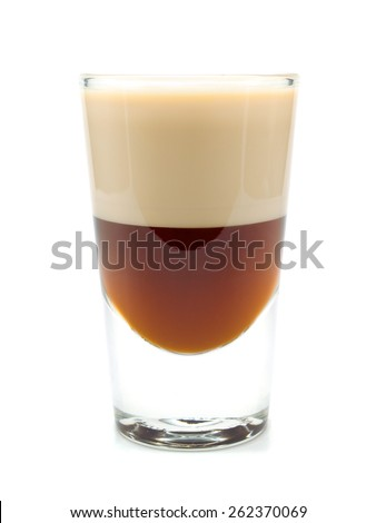Shot made from 1 oz heather cream, 1 oz chocolate liquer isolated on white background - stock photo
