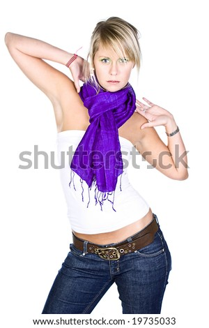 Shot of a Beautiful Blonde Girl in Purple Scarf - stock photo