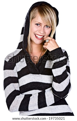 Shot of a Beautiful Blonde Girl Smiling at the Camera in Black and White Striped Hooded Top - stock photo