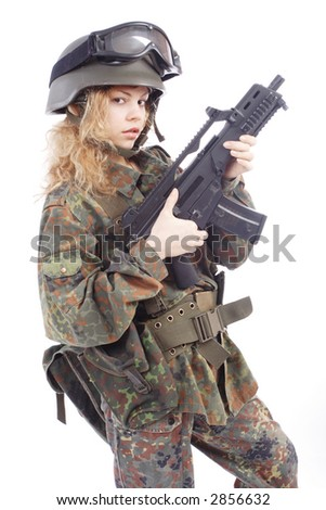 Shot of a beautiful girl holding gun. Uniform conforms to special services(soldiers) of the NATO countries. Shot in studio. Isolated on white. - stock photo