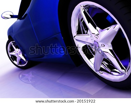Shot of a blue, fast and  sport car - stock photo