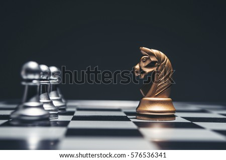 Shot of a chess board silver horse moving.