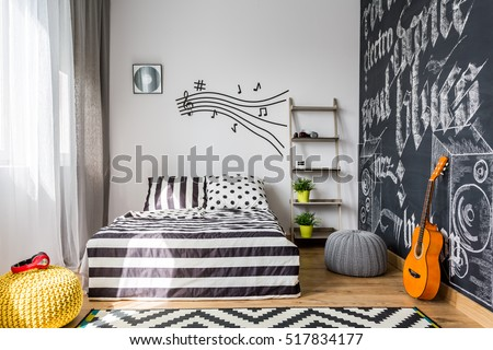 Shot Cozy Music Inspired Bedroom Stock Photo (Safe To Use) 517834177    Shutterstock