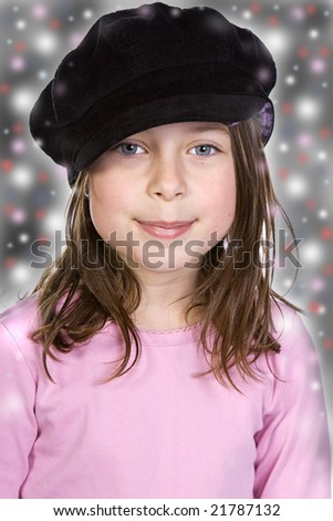 Shot of a Cute Brown Haired Child in Festive Background - stock photo