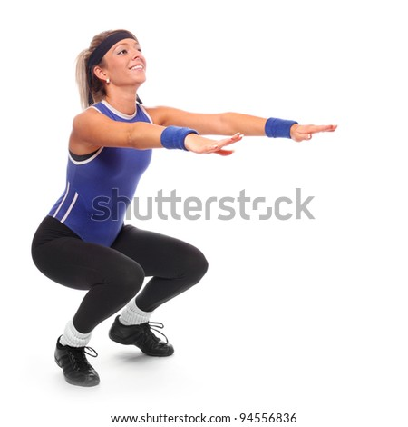 Shot of a exercising young woman. Active lifestyle. - stock photo