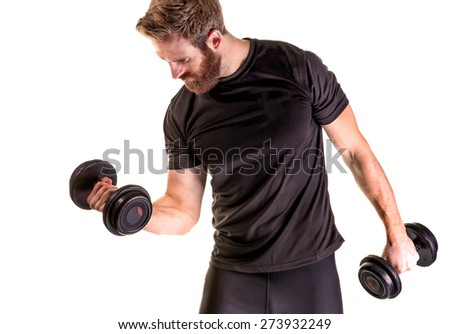 Shot of a fitness model lifting weights on white background - stock photo