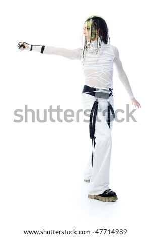 Shot of a futuristic young man with wires.