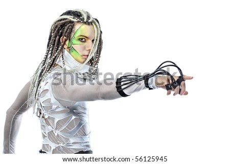 Shot of a futuristic young man with wires. Isolated over white background. - stock photo