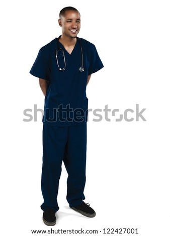 Shot of a happy nurse smiling isolated on white - stock photo