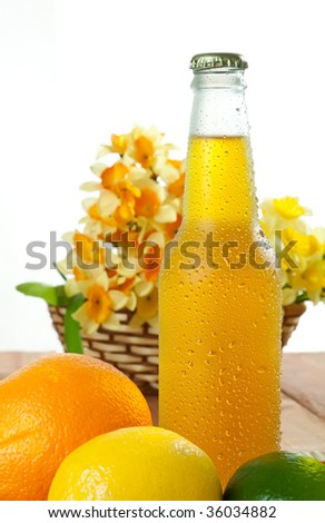 Shot of a ice cold drink in a wet bottle - stock photo