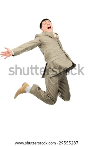 Shot of a jumping young man. Business, success, life events. - stock photo