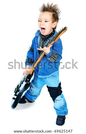 Shot of a little boy playing rock music with electric guitar. Isolated over white background. - stock photo