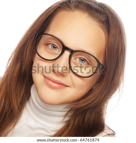 Shot of a little girl in glasses. Isolated on white. - stock photo
