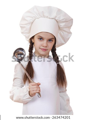 Shot of a little kitchen little girl in a white uniform. Isolated over white background - stock photo