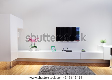 Shot of a modern minimal living room - stock photo