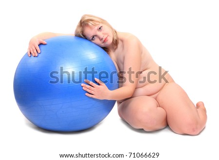 Shot of a naked overweight young woman with blue ball on a white background. - stock photo