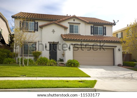 Shot of a newer two story home in Solano County. - stock photo