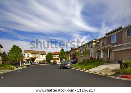 Shot of a Northern California newer residential neighborhood. - stock photo