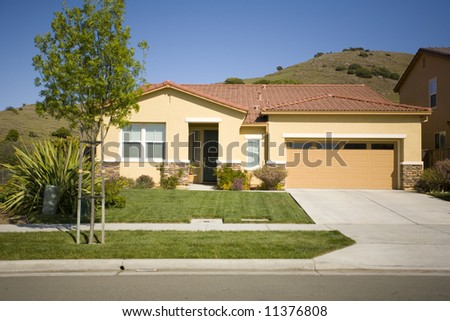 Shot of a Northern California Suburban Home - stock photo