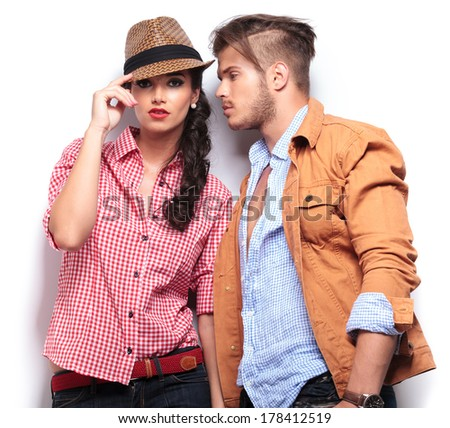 Shot of a passionate young people in love, man looking at his girlfriend - stock photo