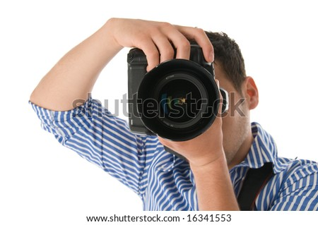 shot of a photographer at work - stock photo