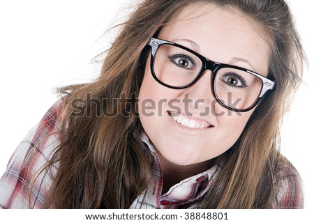 Shot of a Pretty Brunette Geek against White