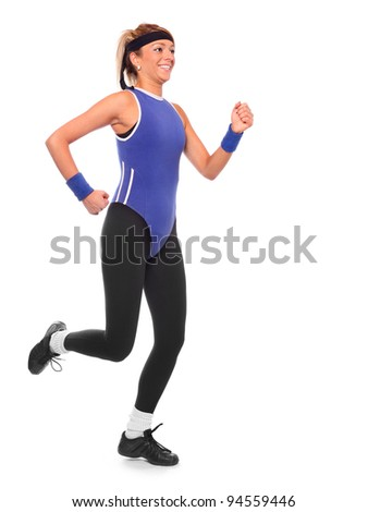 Shot of a running young woman. Active lifestyle. - stock photo