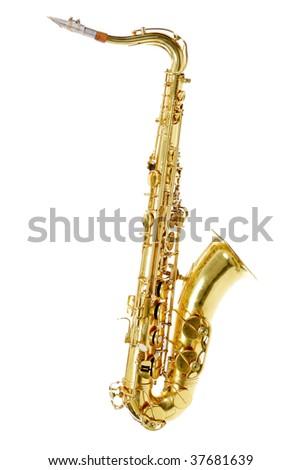 Shot of a saxophone isolated on white background. - stock photo