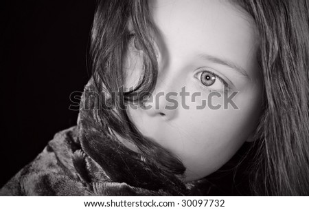 Shot of a Scared Child - stock photo