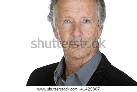 Shot of a Senior Male against White Background - stock photo