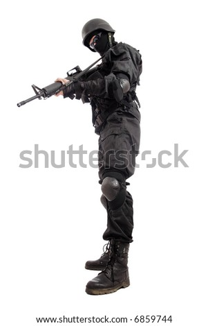 Shot of a soldier holding gun.