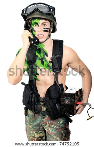 Shot of a soldier talking by radio station. Isolated over white background.